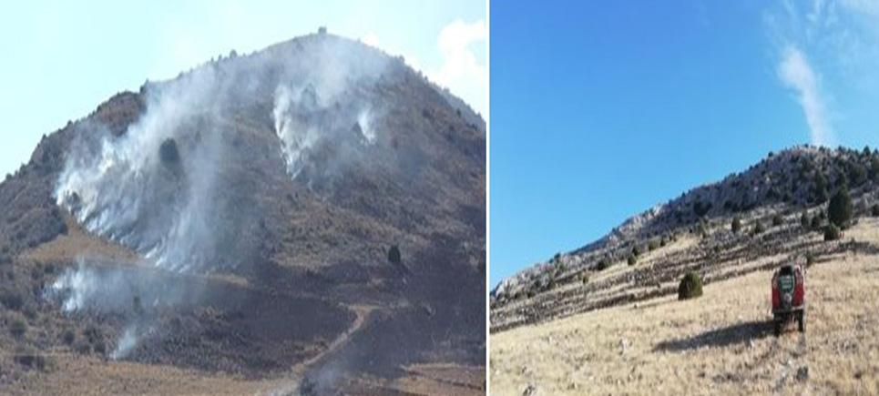 Burdur'da arazi yangını