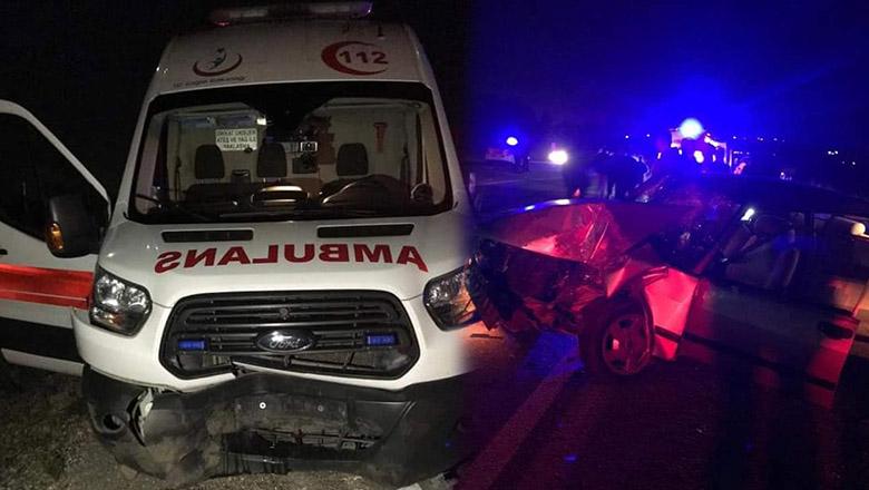 Ambulans domuz sürüsüne çarptı