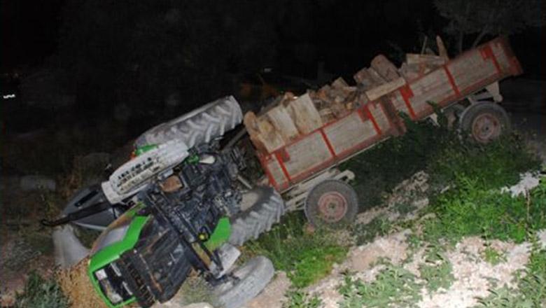 Burdur'da traktör devrildi